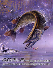 SET OF FOUR MUSKIE FISHING MOTIVATIONAL POSTERS, SCOTT ZOELLICK SAVE 25% OFF