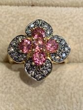 Vintage LeVian Tourmaline and Chocolate Diamond Ring in 18k Yellow Gold