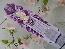 Taufkerze geschnitzt lila mit Spruch und Engel Taufkerze Mädchen 20 cm