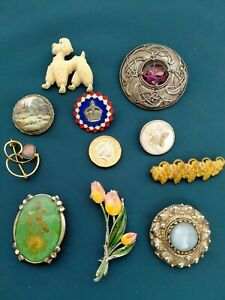 VINTAGE BROOCH BUNDLE MIX OF 10 BEAUTIFUL BROOCHES BB2