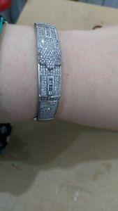 Ancien bracelet machette jonc femme en argent massif 925 sertie zirconium 22,5gr
