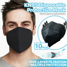 [Black] 10 Pcs Kn95 Protective Face Mask 5-Layer 95% Pm2.5 Disposable Respirator
