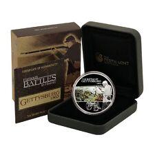 Tuvalu Battle of Gettysburg $1 2009 Proof Silver Coin Mint Box & COA