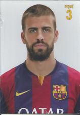 Postal postcard  3 PIQUE jug.  FC BARCELONA 14/15