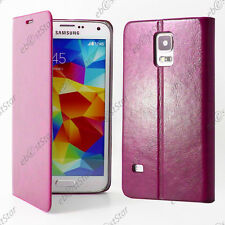 Housse Etui Coque Portefeuille Cuir Rose Samsung Galaxy S5 G900F S5 New G903F