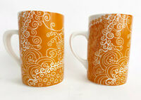 Starbucks Coffee 2005 Mugs Orange Henna Swirl Floral Cups Collectible set of 2