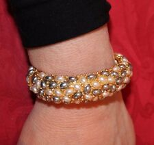 KENNETH JAY LANE Ivory & Gray Pearl Cabochon Bracelet