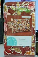 Martha Stewart Quilted STANDARD Pillow Sham Climbing Blossoms Cotton NIP