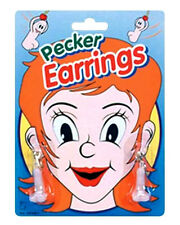 PECKER EARRINGS WILLY WILLIE Sex Aid Party Fun Boobs Hen Stag Night