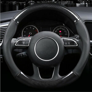 Deluxe Black Carbon Fiber Car Steering Wheel Cover Sleeve Decor 38cm Universal