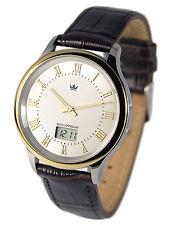 Elegante Bicolor Herren Funkuhr (Junghans-Uhrwerk) Uhr Armbanduhr Leder 964.4106