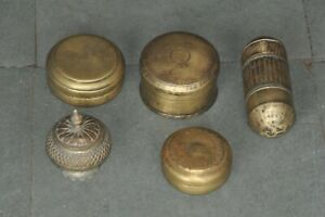 5 Pc Old Brass Handcrafted Different Unique Shape Powder / Pill Boxes