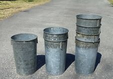 LOT of 4 NICE Vintage GALVANIZED OLD Sap Buckets Maple Syrup + PATINA