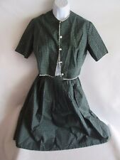 Vintage 1940s Dress Outfit Top and Skirt Green Plaid
