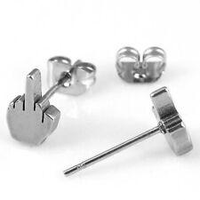 20g Women Men Punk Earrings Stainless Steel Middle Finger Ear Stud Charm Jewelry