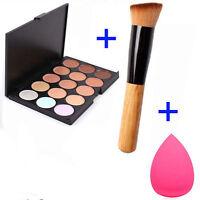 15Colors Contour Face Cream Makeup Concealer Palette+Sponge Puff Powder Brush EI