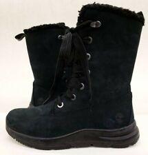 Timberland Women's Black nubuck and fur collar high rise boot size 7