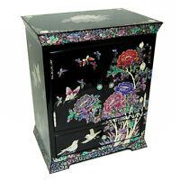 Boîte à Bijoux Rangement Collier Maquillage Nature Poesie Bois Laque Corée Asie
