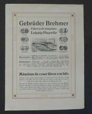 Prospekt Gebrüder Brehmer Maschinenfabrik Leipzig - Plagwitz, Faden, 1909