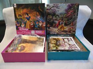 Disney Snow White (2) Puzzles Ceaco Fine Art 1000 Pc & Thomas Kinkade 750 Piece