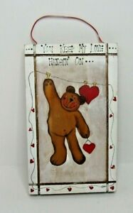 """Hand Painted Wood Folk Art 9"""" X 5 1/2"""" Wall Hanging Country Farm House"""