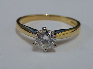 Ladies 18ct Gold Moissanite Solitaire Ring - Size L 1/2  + Appraisal