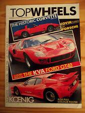 TOPWHEELS n° 4 / 1986 CORVETTE. KVA GT 40 REPLICA. Poster KOENING FERRARI