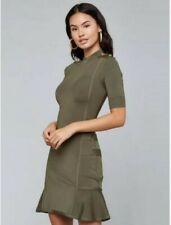 New Sexy Olive Green Military Style Bodycon Bandage Dress Size L Size 10