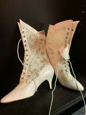 Lace Wedding Ankle Boot Ivory White 8.5 Womens Victorian Steampunk 8-8 1/2