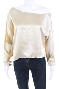 Tibi Womens Silky Long Sleeve Cowl Neckline Flowy Blouse Beige Size M