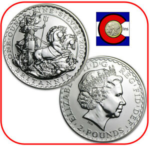 2009 Great Britain Silver Britannia UK 1oz £2 in direct fit capsule
