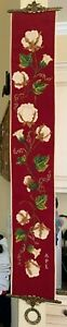 Vintage Handmade Needlepoint Red Floral Tapestry Bell Pull w/ Brass Hardware