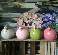 4 x große Keramik Hühner Henne Huhn Osterdeko Dekofigur Landhaus Bauernhof Rosa