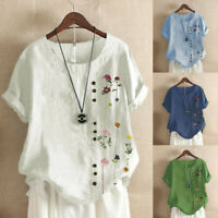 Plus Size Women Short Sleeve Floral Printed Buttons O-Neck Tops T-Shirt Blouse