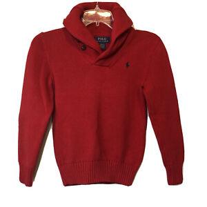 Polo Ralph Lauren Red Pullover Sweater Long Sleeve Boy's Size Medium 10/12