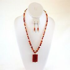 Semi-Precious Stone & Glass Hand Beaded Pendant Necklace Earring Set Pink Orange