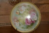 """Vintage RS GERMANY PORCELAIN BOWL Dish - Pink, Yellow and Red Roses 9"""""""