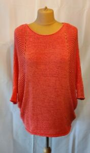 Phase Eight Jumper UK S/10/12 Batwing Dip Hem Coral Pink Open Knit Layering