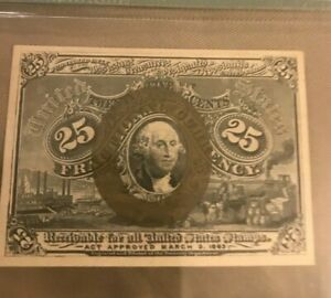 Second  issue , 25c fractional currency Fr-1285 , PMG 64
