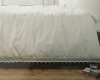 French Country Crochet Lace White Queen Bed Linen Doona Duvet Quilt Cover 3P Set