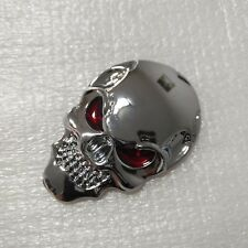 2 X Silver Stereoscopic Skull Head Emblem Car Seats Backrest Stickers car body