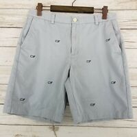 Vineyard Vines Mens Size 33 Gray Cotton Twill Whale Embroidered Breaker Shorts