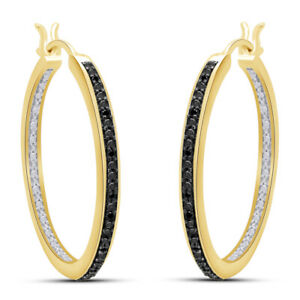 Black Diamond Accent 30Mm Round Hoop Earrings 18K Yellow Gold Over