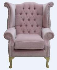 Chesterfield Queen Anne High Back Wing Chair Pimlico Blush Pink Fabric SS Yew Fe