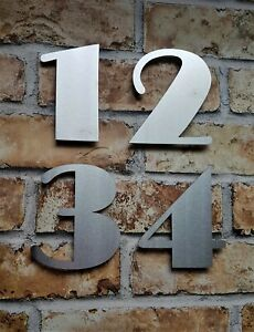 "Large 6""/15cm floating Art Deco house/door numbers 2mm brushed stainless steel"