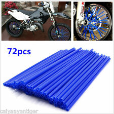 Motocross Dirt Bike Enduro Wheel Rim Spoke Skins Cover Blue Wraps PVC 72pcs/Set