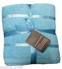 5 PC TOWEL BALE SATIN STRIPE AQUA DUCKEGG BLUE LUXURIOUS EGYPTIAN COTTON 500 GSM