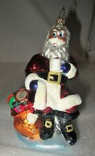 Christopher Radko Santa Claus Sitting w/ Coffee / Cocoa Christmas Ornament Mint