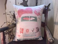 Sweet Shabby Vintage Style Valentine Pick Up Truck Heart Love Pink Roses Pillow