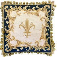 "16"" x 16"" Wool Needlepoint Gold Fleur de Lis Navy Blue Pillow with Tassels"